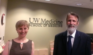 Amanda Strombom and Stewart Rose meet with the Dean of Curriculum at the UW Medical School.